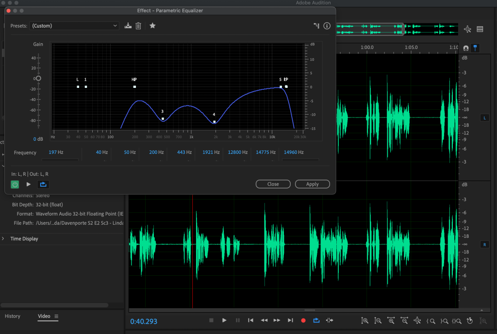 Screen capture of Adobe Audition software editing voice audio files.